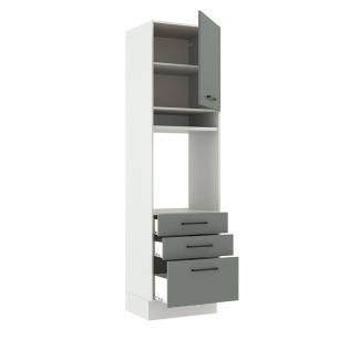 Torre Quente Madesa Agata 60 cm 1 Porta 3 Gavetas - Branco/Cinza