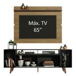 Rack Madesa Cancun com Pés e Painel para TV até 65 Polegadas - Preto/Rustic D85Z