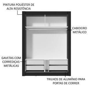 Guarda-Roupa Solteiro Madesa Dallas Plus 2 Portas de Correr 4 Gavetas - Preto/Carvalho