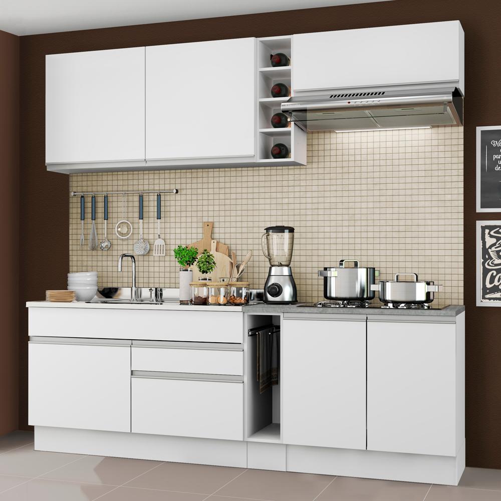Cozinha Completa Madesa Parma com Armário e Balcão (Sem Tampo e Pia) - Branco