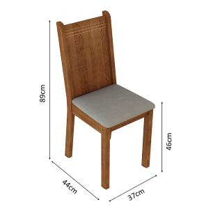 Kit 6 Cadeiras de Jantar 4290 Madesa Rustic/Pérola