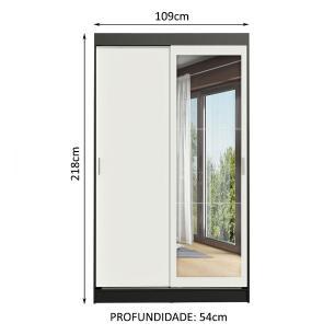 Guarda-Roupa Solteiro Madesa Tokio 2 Portas de Correr com Espelho 2 Gavetas - Preto/Branco
