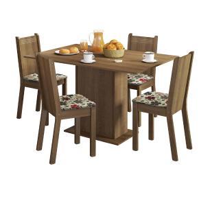 Conjunto Sala de Jantar Lexy Madesa Mesa Tampo de Madeira com 4 Cadeiras