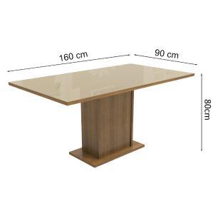Mesa Madesa Retangular Tampo de Vidro 5275 - Rustic/Crema