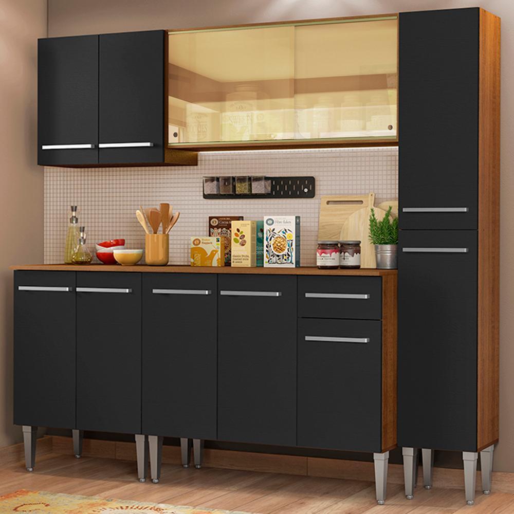 Cozinha Completa Madesa Emilly West com Balcão, Armário Vidro Reflex e Paneleiro - Rustic/Preto