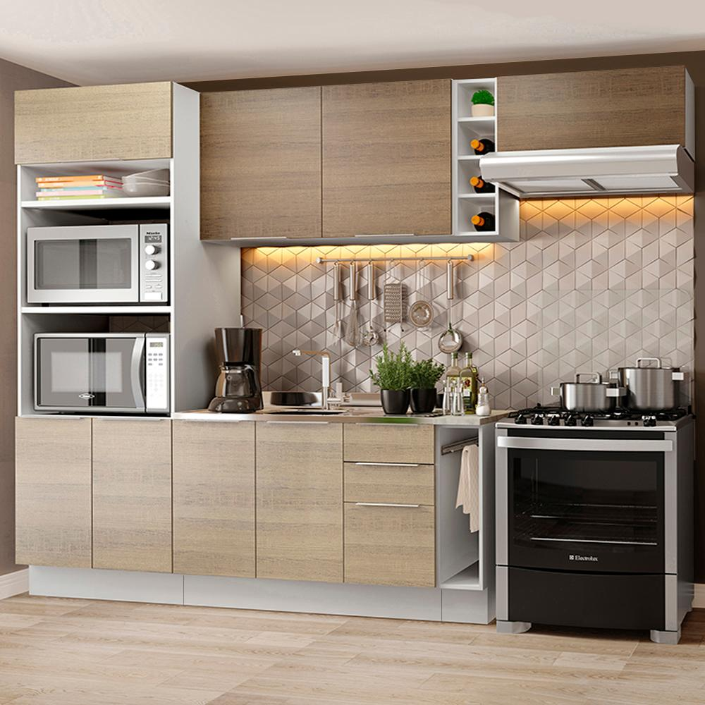 Cozinha Completa Madesa Stella 290002 com Armário e Balcão