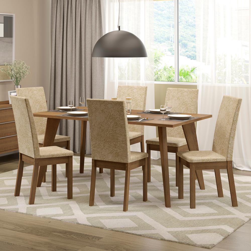 Conjunto Sala de Jantar Madesa Ester Mesa Tampo de Madeira com 6 Cadeiras