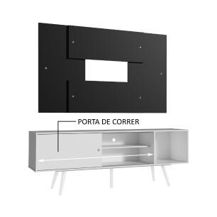 Rack Madesa Cairo e Painel para TV até 58 Polegadas com Pés de Madeira - Branco/Preto 0977