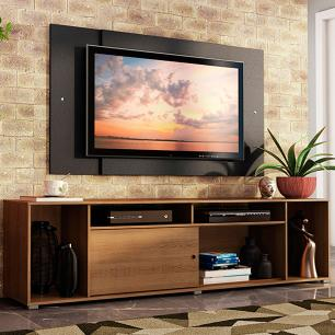Rack Madesa Cancun e Painel para TV até 58 Polegadas - Rustic/Preto 5Z8N