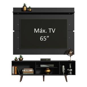 Rack Madesa Dubai e Painel para TV até 65 Polegadas com Pés - Preto/Rustic