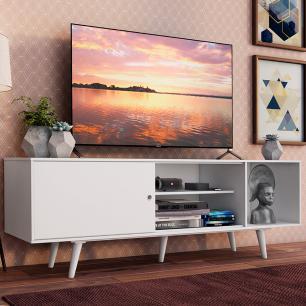 Rack Madesa Dubai para TV até 65 Polegadas com Pés - Branco