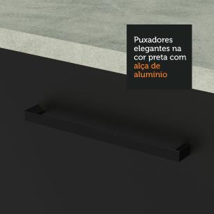 Armário Aéreo Madesa Agata 120 cm 2 Portas - Branco/Preto