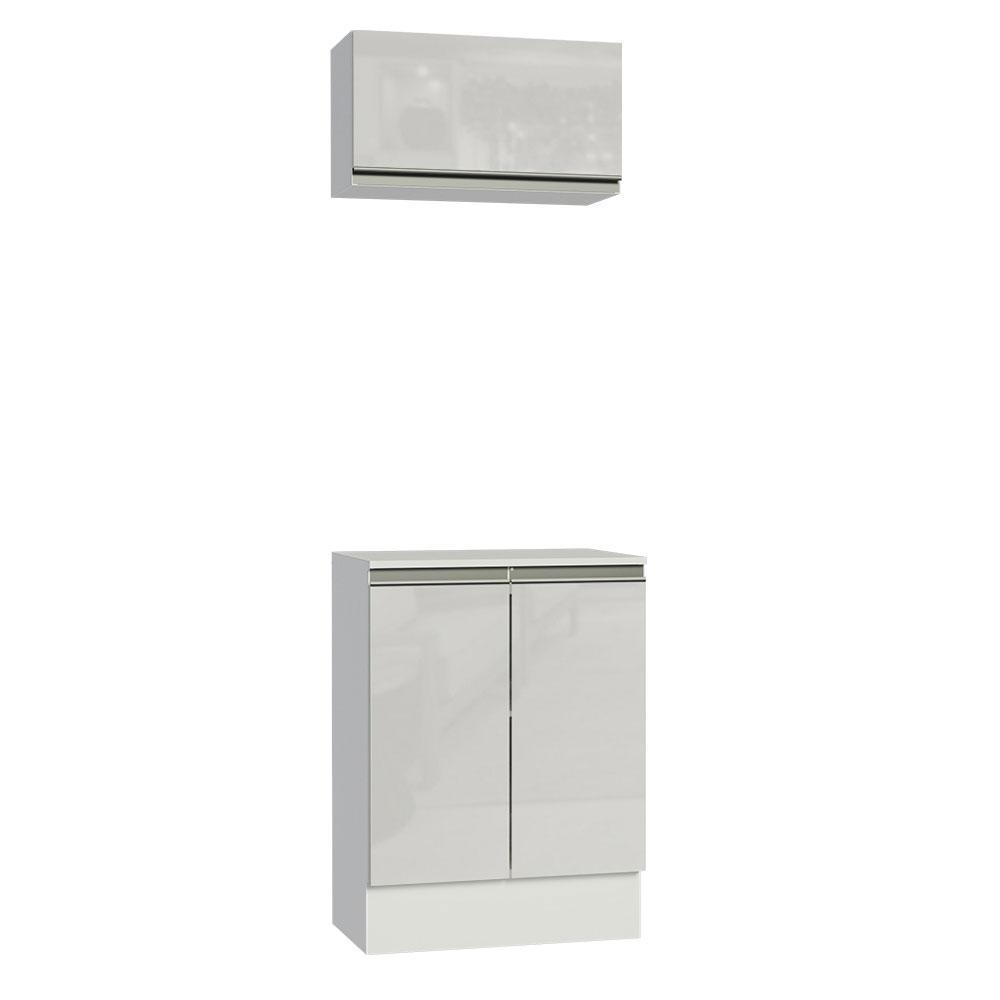Kit 60 cm Madesa Smart 100% MDF 2 Portas e 1 Suspensa - Portas Branco Brilho