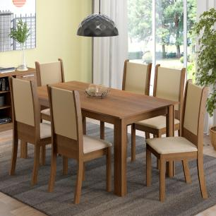 Conjunto Sala de Jantar Madesa Melissa Mesa Tampo de Madeira com 6 Cadeiras