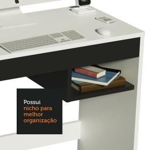 Escrivaninha Madesa Rubi + Estante Livreiro 6907 - Branco