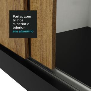 Guarda Roupa Casal Madesa Mônaco 3 Portas de Correr com Espelho - Preto/Rustic