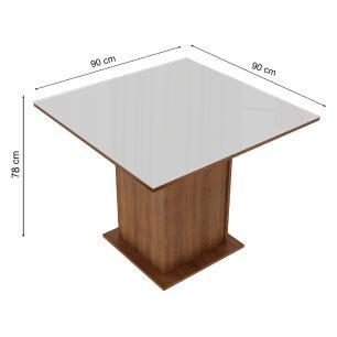Mesa Madesa Quadrada com Tampo de Vidro 5363 Rustic/Branco