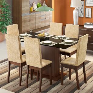 Conjunto Sala de Jantar Madesa Valentina Mesa Tampo de Madeira com 6 Cadeiras