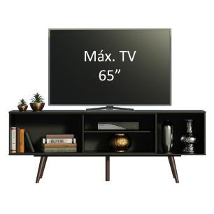 Rack Madesa Cairo para TV até 65 Polegadas com Pés de Madeira - Preto/Rustic