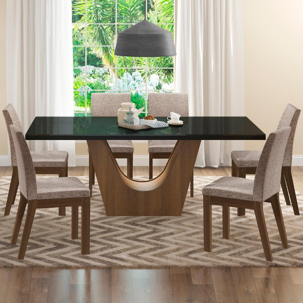 Conjunto Sala de Jantar Madesa Alice Mesa Tampo de Vidro com 6 Cadeiras