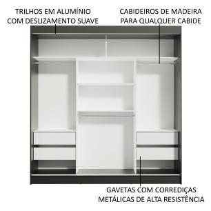 Guarda-Roupa Casal Madesa Reno 3 Portas de Correr com Espelho - Preto/Carvalho