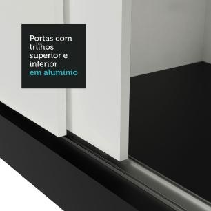 Guarda Roupa Casal Madesa Mônaco 3 Portas de Correr com Espelho - Preto/Branco