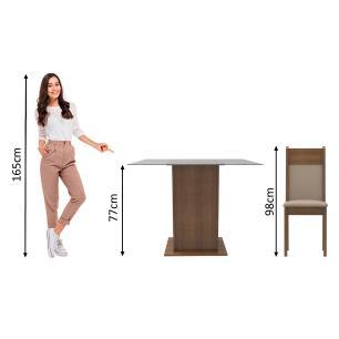 Conjunto Sala de Jantar Madesa Dallas Mesa Tampo de Vidro com 4 Cadeiras - Rustic/Crema/Pérola