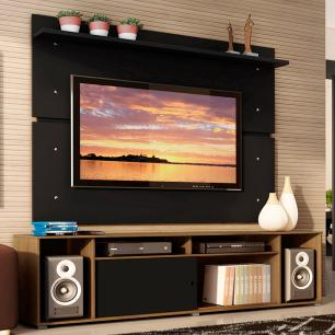 Rack Madesa Cancun e Painel para TV até 65 Polegadas - Rustic/Preto/Preto