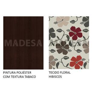 Kit 6 Cadeiras 4290 Madesa - Tabaco/Hibiscos