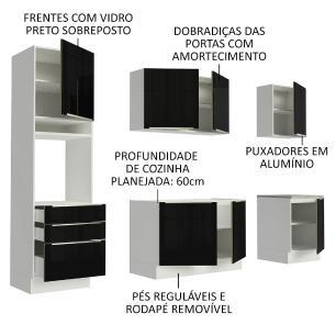 Cozinha Completa Madesa Lux com Armário e Balcão 7 Portas 3 Gavetas - Branco/Preto