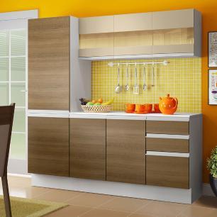 Cozinha Compacta 100% MDF Madesa Smart 170 cm Modulada Com Armário, Balcão e Tampo