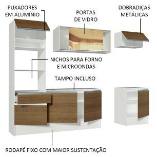 Cozinha Completa Madesa Diamante com Armário, Balcão e Tampo - Branco/Rustic