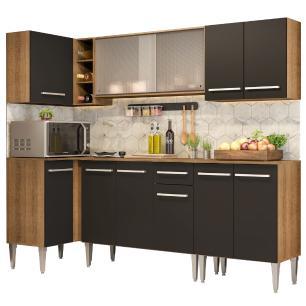 Cozinha Completa de Canto Madesa Emilly Point com Balcão e Armário Vidro Miniboreal