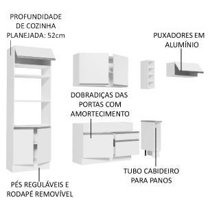 Cozinha Completa Madesa Safira com Armário e Balcão (Sem Tampo e Pia) - Branco