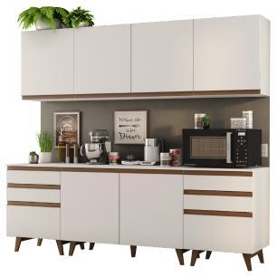 Cozinha Completa Madesa Reims 240002 com Armário e Balcão - Branco