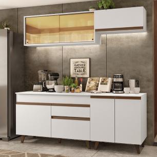Cozinha Completa Madesa Reims 190001 com Armário e Balcão - Branco