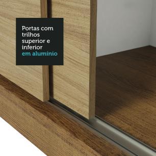 Guarda-Roupa Casal Madesa Mônaco 3 Portas de Correr com Espelho - Rustic/Carvalho