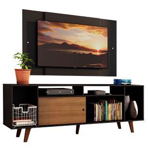 Rack Madesa Cancun e Painel para TV até 58 Polegadas com Pés - Preto/Rustic D8D8