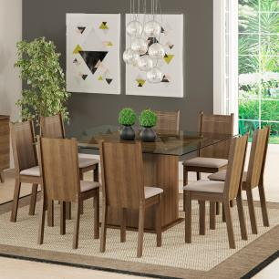 Conjunto Sala de Jantar Madesa Camila Mesa Tampo de Vidro com 8 Cadeiras