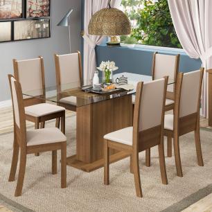 Conjunto Sala de Jantar Madesa Modena Mesa Tampo de Vidro com 6 Cadeiras