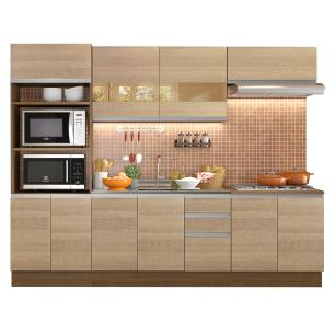 Cozinha Completa Madesa Atenas 10 Portas 3 Gavetas (Sem Tampo e Pia) - Rustic/Saara
