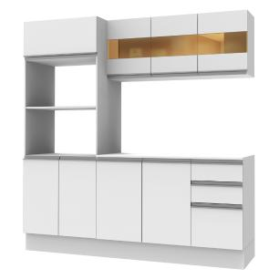 Cozinha Compacta 100% MDF Madesa Smart 190 cm Com Armário, Balcão e Tampo