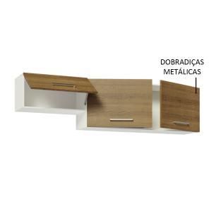 Armário Aéreo Madesa Onix 180 cm 3 Portas - Branco/Rustic