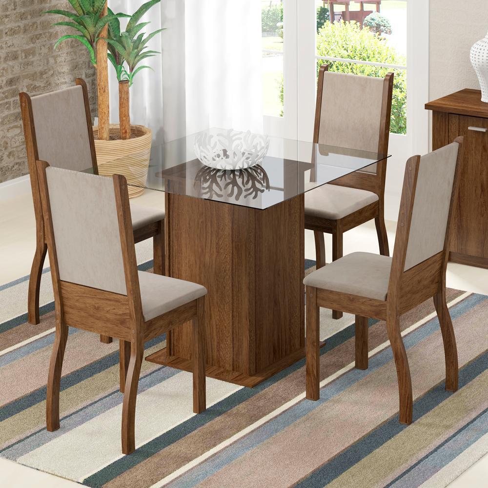 Conjunto Sala de Jantar Madesa Ariadne Mesa Tampo de Vidro com 4 Cadeiras