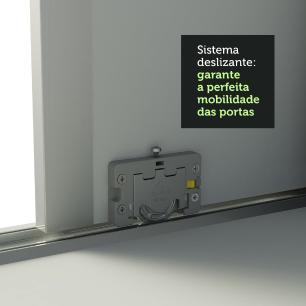 Guarda Roupa Casal 100% MDF Madesa Zurique 3 Portas de Correr com Pés - Branco/Branco/Rustic