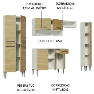 Cozinha Completa Madesa Emilly Hit com Armário e Balcão - Branco/Carvalho