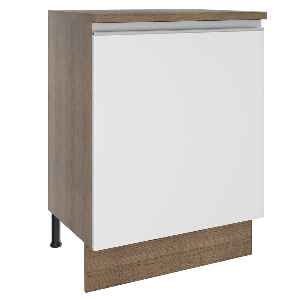 Balcão Madesa Glamy 60 cm 1 Porta - Rustic/Branco