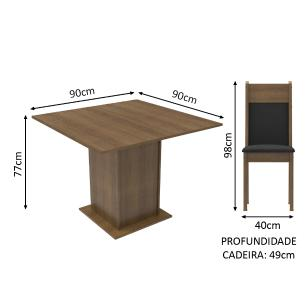 Conjunto Sala de Jantar Madesa Malibu Mesa Tampo de Madeira com 4 Cadeiras - Rustic/Preto/Sintético Preto