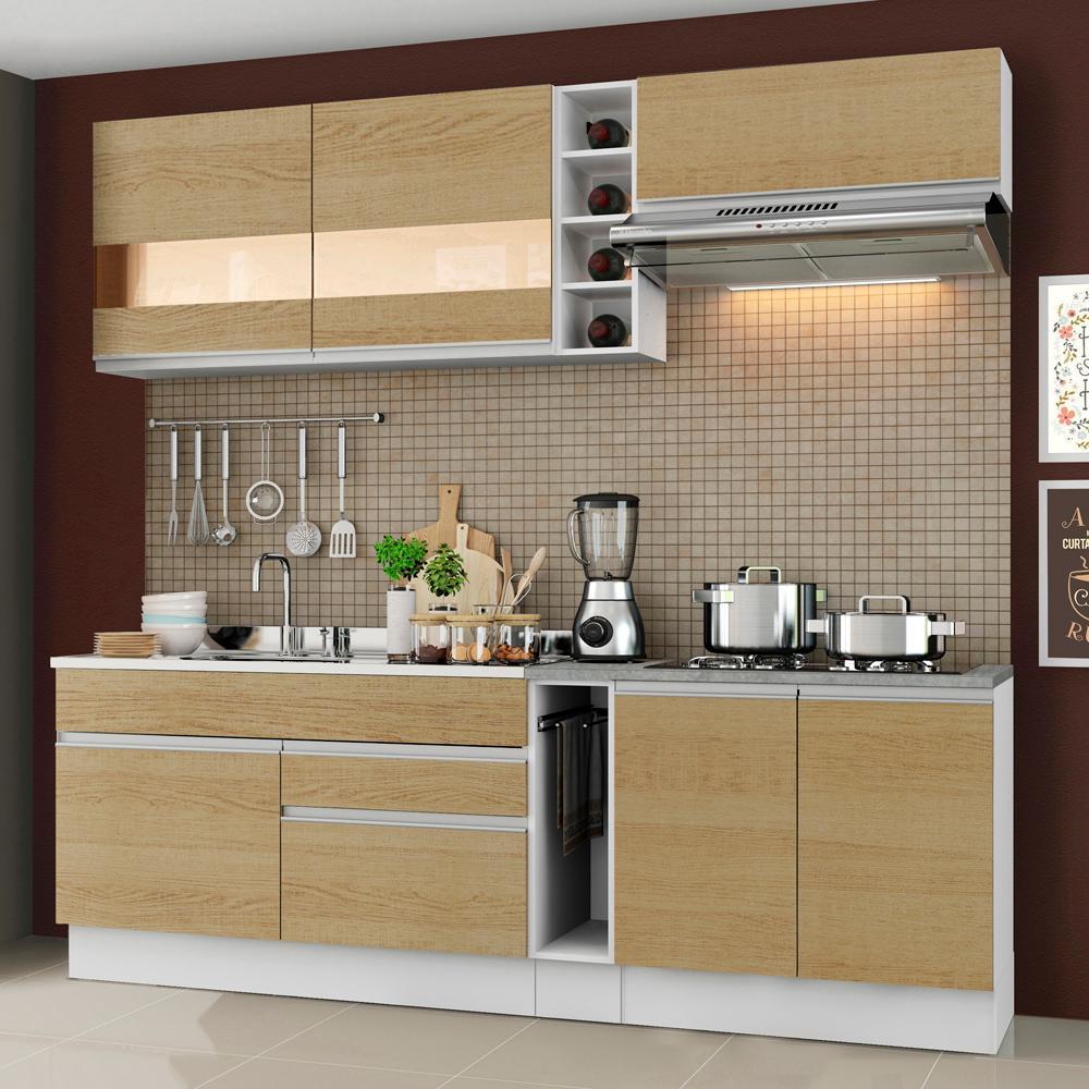 Cozinha Completa Madesa Parma com Armário e Balcão (Sem tampo e Pia) - Branco/Saara
