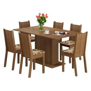 Conjunto Sala de Jantar Madesa Megan Mesa Tampo de Madeira com 6 Cadeiras - Rustic/Bege Marrom